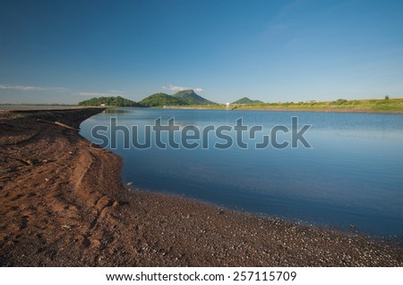 blue reservoir - stock photo