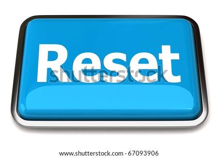 Blue reset button - stock photo