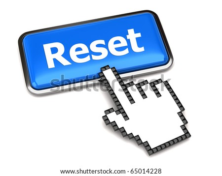 Blue reset button and hand cursor - stock photo
