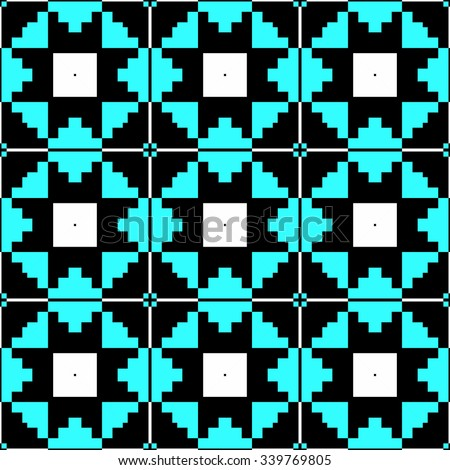 blue retro abstract geometric ethnic pattern