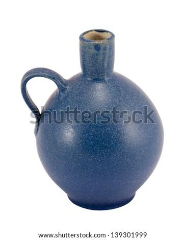 blue retro ceramic round flower vase with handle and small hole isolated on white background. - stock photo