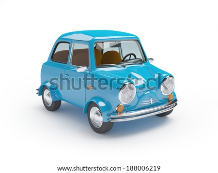 Blue retro mini car on a white background - stock photo