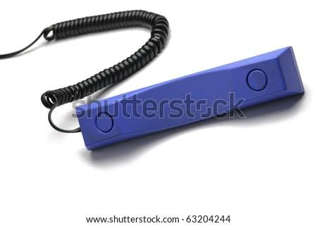 blue retro telephone tube isolated on white background - stock photo