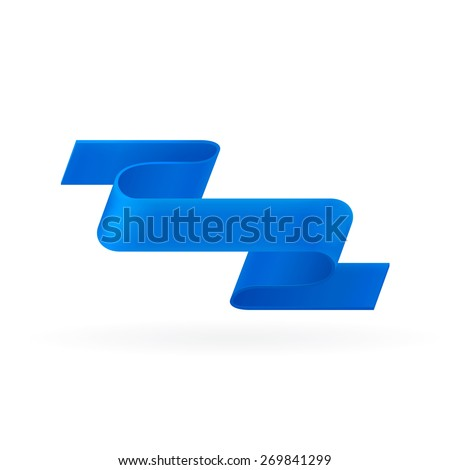 Blue ribbon. Abstract scroll paper vector background. Design element. Ribbon banner. Isolated on a white background. - stock photo