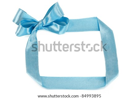 blue ribbon and bow isolated on white background - stock photo