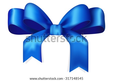 Blue ribbon and bow. Raster version. Isolated on white.