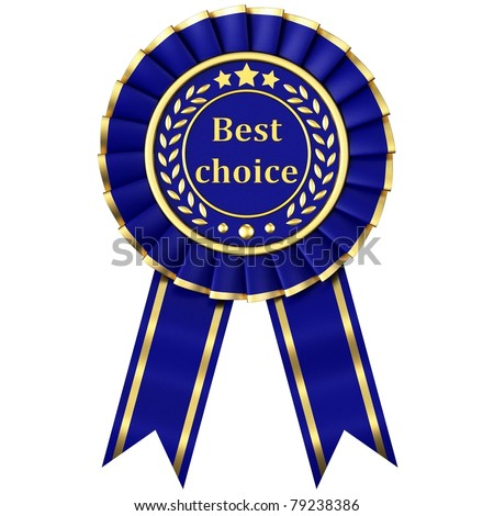 Blue Ribbon Award isolated on white background. - stock photo