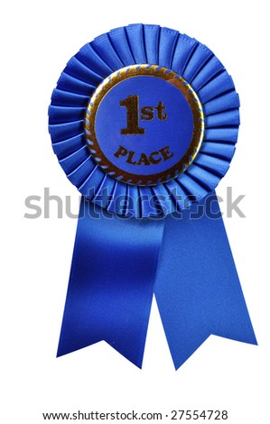 Blue ribbon award isolated on white background with clipping path. - stock photo