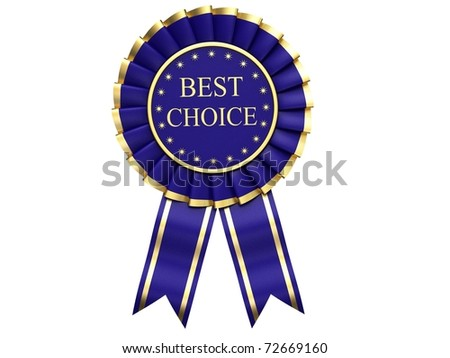 Blue Ribbon Award labeled the best choice - stock photo