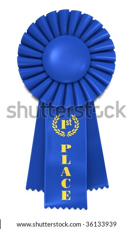 Blue Ribbon Award with First Place printed in gold. Includes pro clipping path. - stock photo