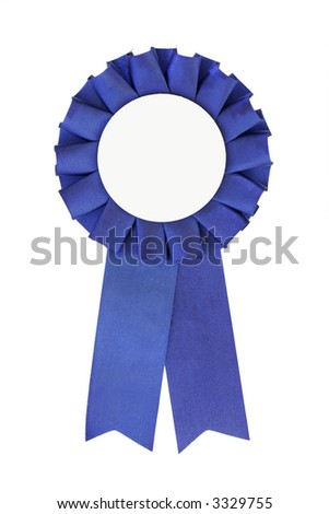 Blue Ribbon close-up (place your own text in the middle) - stock photo