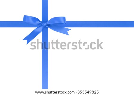 blue ribbon cross with bow for packaging with tails isolated on white background - stock photo