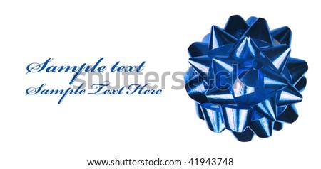 Blue ribbon isolated on white - stock photo