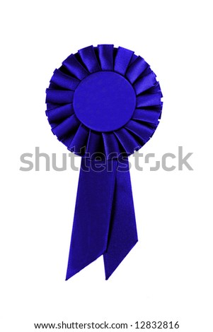 Blue Ribbon on White Background - stock photo