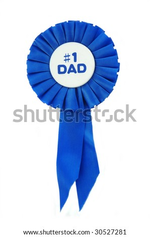 Blue Ribbon on white for a number one Dad. - stock photo