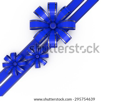 Blue ribbon tied in a bow - stock photo