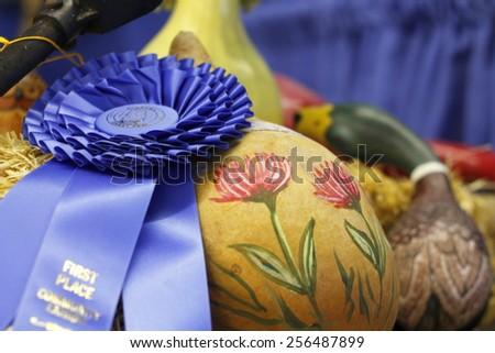 Blue ribbon winner - stock photo