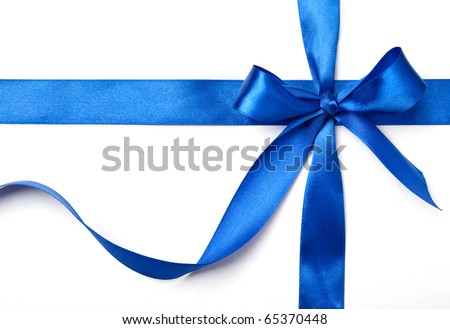 blue ribbon with a bow as a gift on a white background - stock photo