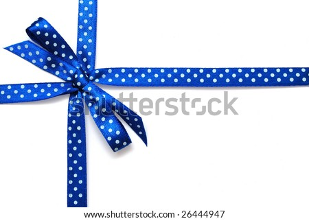 Blue ribbon with bow isolated - stock photo