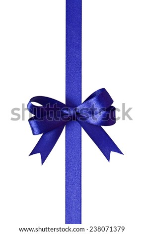 Blue ribbon with bow isolated on white background - stock photo