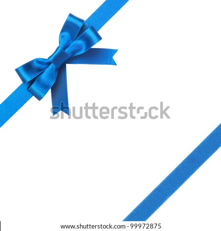 Blue ribbon with bow on a white background - stock photo