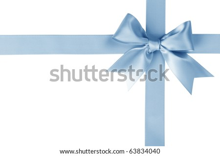 Blue ribbon with bow on white - stock photo