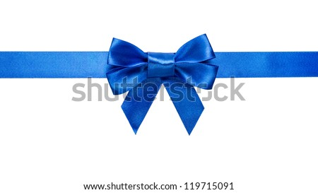 blue ribbon with bow with tails isolated on white background - stock photo