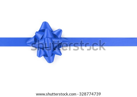 blue ribbon with gift bow isolated on white background - stock photo