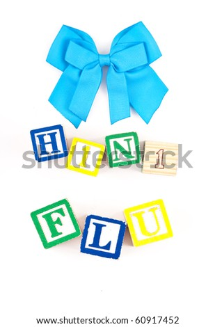 Blue Ribbon with H1N1 Flu Spelled in Blocks - stock photo