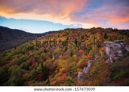 Blue Ridge Mountain Sunset in the Fall - stock photo