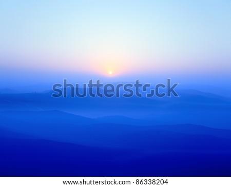 blue ridge mountains at sunrise - stock photo