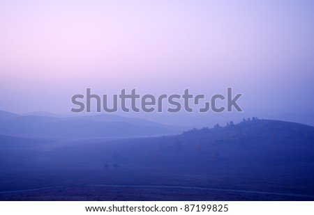 blue ridge mountains at sunrise - stock photo