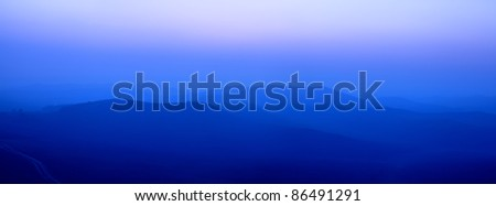 blue ridge mountains in early morning - stock photo