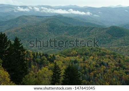 Blue Ridge Mountains in North Carolina - stock photo