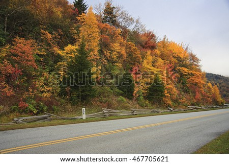 Blue Ridge Parkway and Mile Marker in North Carolina during the Fall