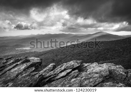 Blue Ridge Parkway Grandfather Mountain Rough Ridge Scenic Landscape Overlook in black and white
