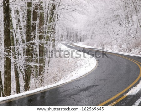blue ridge parkway in winter - stock photo