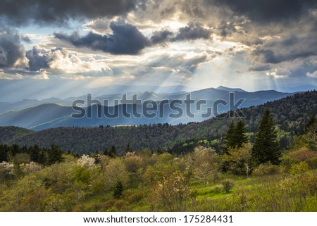 Blue Ridge Parkway Landscape North Carolina Appalachian Mountains evening sunset photography south of Asheville NC - stock photo