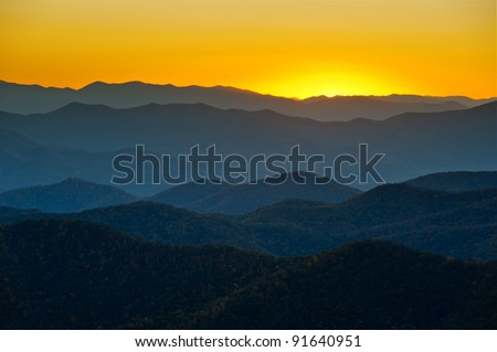 Blue Ridge Parkway Mountains Ridges Layers Sunset Appalachian Scenic Landscape in Western North Carolina - stock photo