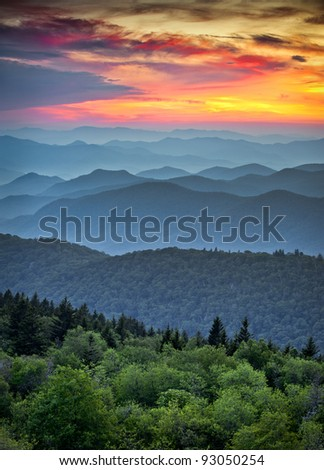 Blue Ridge Parkway Scenic Landscape Appalachian Mountains Ridges Sunset Layers over Great Smoky Mountains National Park - stock photo