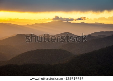 Blue Ridge Parkway Sunset Southern Appalachian Mountains Scenic Nature Landscape and national park vacation travel destination - stock photo