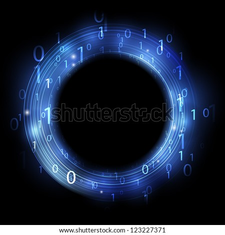 Blue ring with binary code - concept of information - stock photo