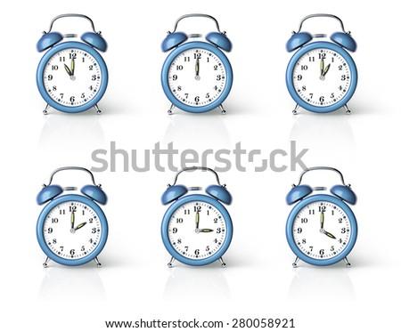 Blue ringing alarm clock isolated on white background - stock photo