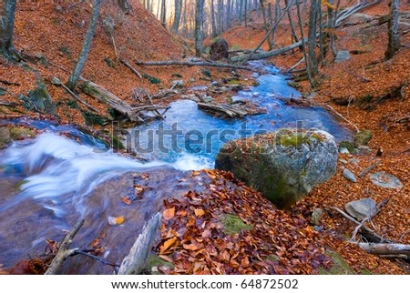 blue river in a autumn mountains