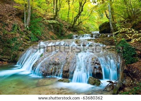 blue river in a mountain canyon at the autumn