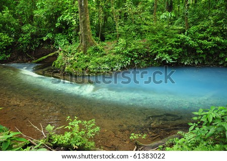 Blue river in Costa Rica - stock photo