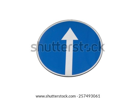 Blue Road Sign With Arrow, Isolated on White   - stock photo