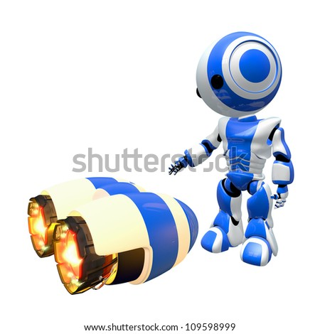 Blue robot inspecting rocket engines for possible use. - stock photo