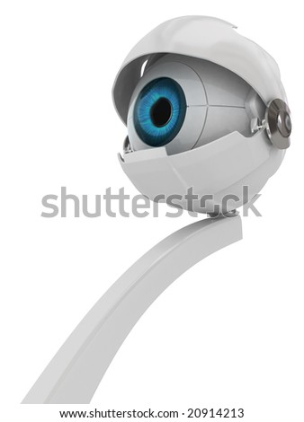 Blue robotic eye, vertical, isolated