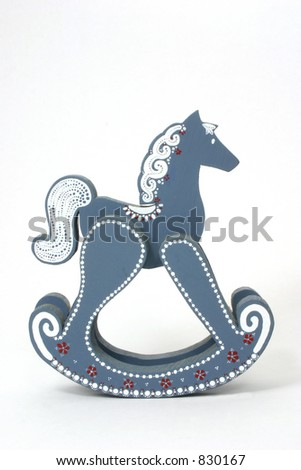 Blue Rocking Horse Over White - stock photo